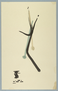 Vertical rectangle with abstract group of bamboo stalks.