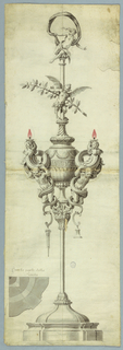 Drawing, An Oil Burning Lamp, 1775–1880
