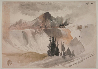 Landscape with railroad track in lower right foreground; view across ravine, with evergreen tree thicket, to Rocky Mountain range. Glimpse of train with smoke-belching engine, right of center, traversing mountain ridge.
