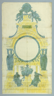 Drawing, Design for Bronze Clock, 1810–30