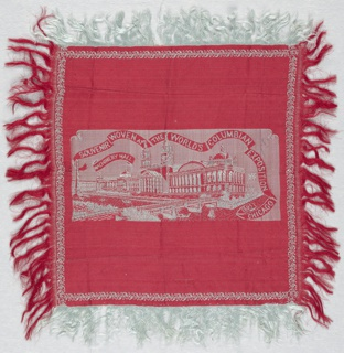 Red silk souvenir square from Chicago's Columbian Exposition has a design of buildings and a large pool of water in light grey.