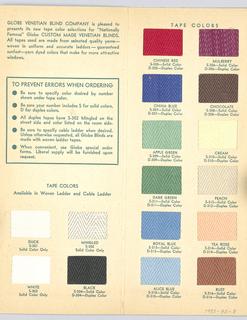 Venetian Blind Tape Sample Card (USA), ca. 1950