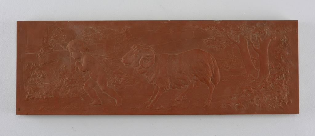 Matte-red rectangle with scene of naked boy pulling ram.