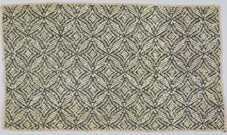 """Diagonal leaf forms in a repeating pattern in black, white, and gold.  Minimum unit of pattern: 2"""" x 2"""". All edges cut and hemmed."""