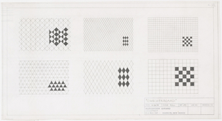 Six complete designs on one sheet; four are checkerboard diamond motifs, two are square motifs with black patterning.
