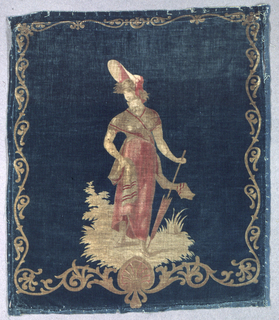 Cushion cover of printed cotton velvet showing a woman in Directoire dress and bonnet, leaning on a parasol. In shades of rosy reds and tans on a blue-green ground, with narrow scrolling acanthus border.