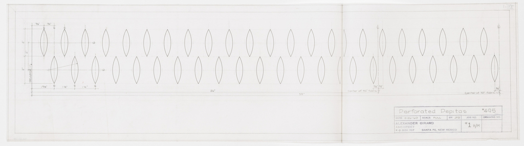 Grid of two rows of pointed oval shapes.