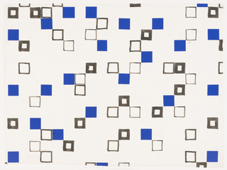 Arrangement of thick and thin bordered squares with painted blue paper squares affixed to sheet.