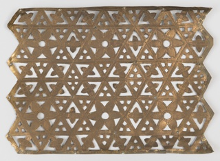 the rectangular sheet of thin copper with pointed borders on the side, pierced with an arrangment of triangles and flowerheads in a geometric pattern