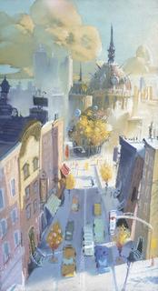 Concept Art, Downtown Monstropolis, Monsters, Inc., 2001
