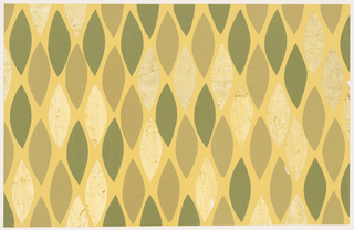 Pattern of green, gray-green, and gold foil cut papers in the shape of leaves, mounted to a yellow background.