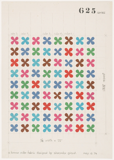 Eight vertical rows of small, four petaled flower motifs made from pink, light blue, blue, green, brown and red colored tissue paper arranged inside a ruled grid.