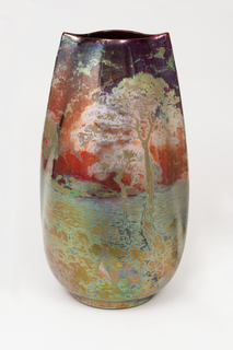 "Vase of tall ovoid section with ""pinched"" ends, painted and glazed with iridescent copper metal oxides in a landscape with trees, water and sunsiridescent glaze"