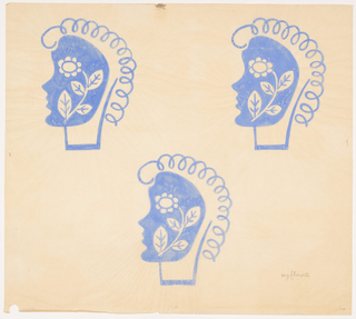 Three women's profiles, rendered in blue, looking left with an arrangement of flowers and leaves at side of head.