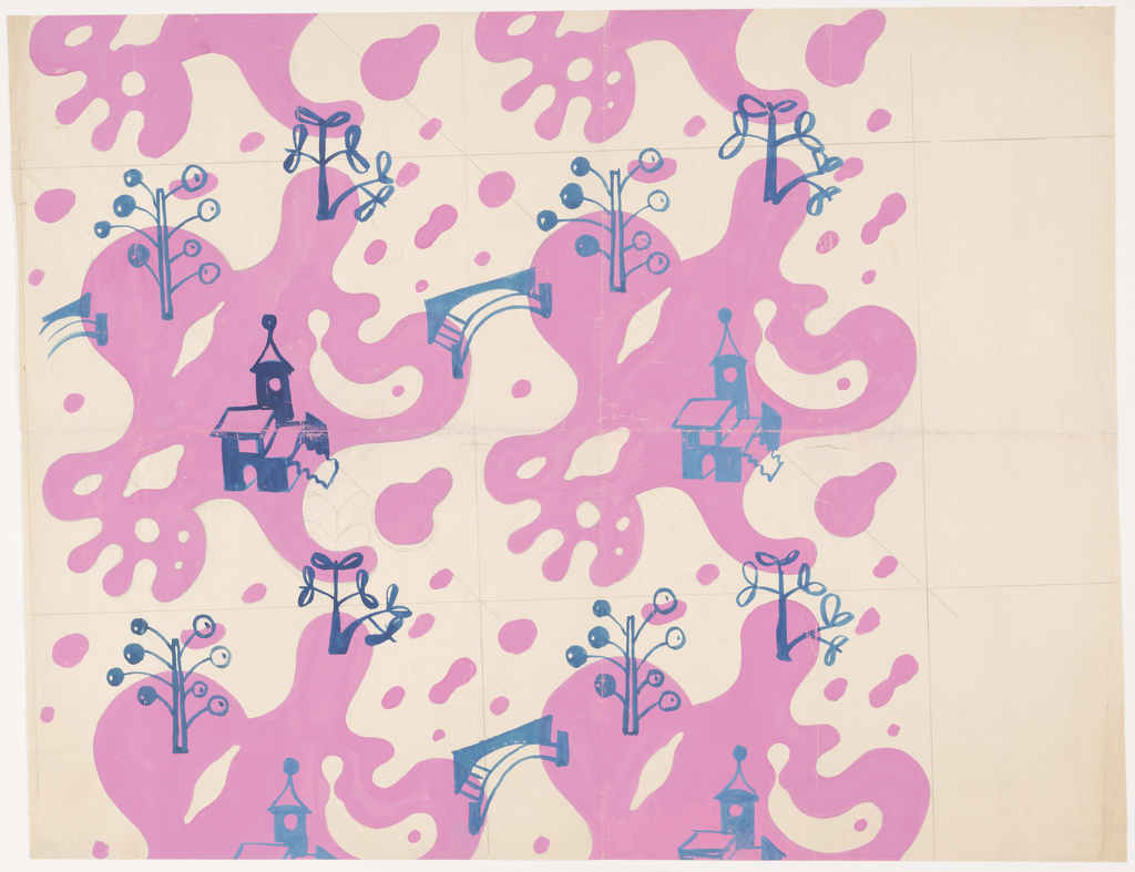 Buildings and bridges rendered freely in blue against a background of pink amorphic shapes.
