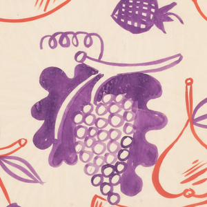 Freely painted assortment of fruit including grape clusters, strawberries and cherries rendered in purple, and lemons, pears and bananas in orange.