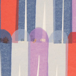 Alternating arch-shaped pieces of lavender, blue, purple and red colored tissue papers, slightly overlapped to create an allover striped pattern.
