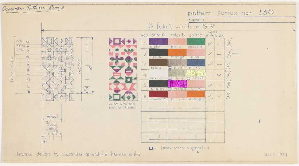 Pattern card illustrating six colorways for pattern no. 130, which is indicated at left and center.