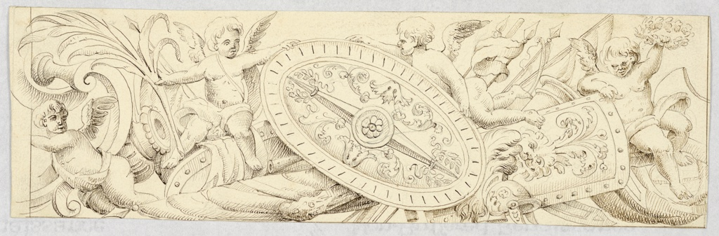 Horizontal rectangle. Right half of a design for a frieze is shown. At left are scrolls of an escutcheon with a sitting putto leaning upon them. At right is a trophy of arms, with two putti sitting upon it and a third putto flying. He and one of the stiting putti busy themselves with an ovoidal shield. The sitting one holds a palm branch in his other hand. The other sitting putto raises a wreath with his left hand.