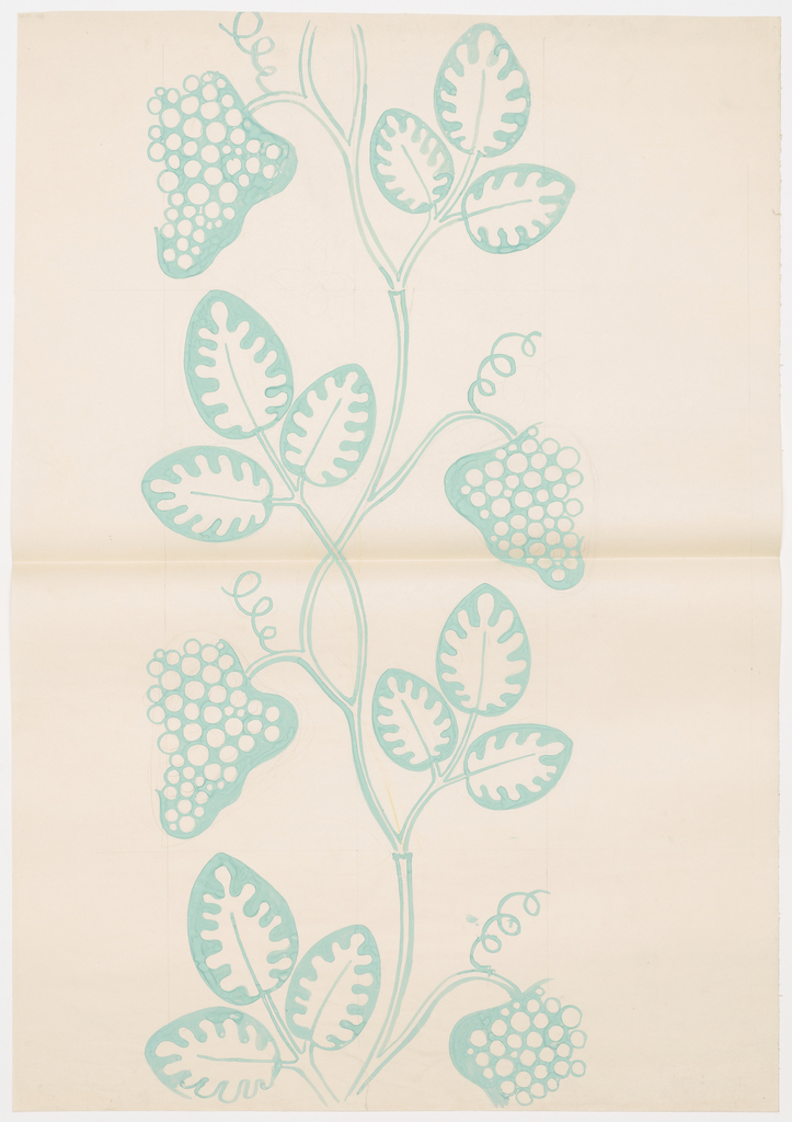 Turquoise grape clusters with leaves and central vine and a penciled butterfly.