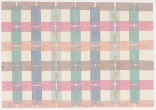 Repeating horizontal bands of brown, red and pink rectangles, laid over repeating bands of green, dark blue and light blue rectangles.