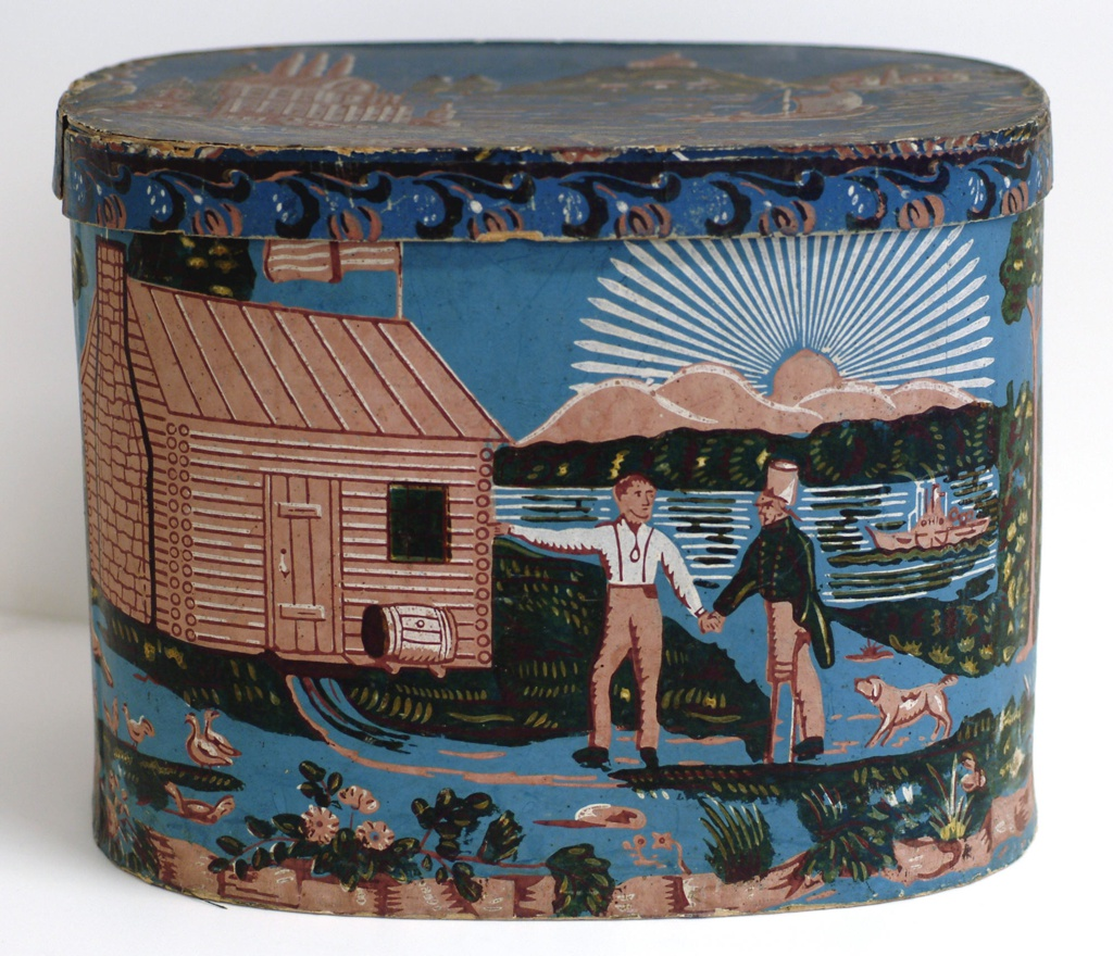 Political campaign attack on General Harrison, shown standing in front of a log cabin, greeting a veteran. A barrel of cider sits next to the door. In the background is the Ohio River with a paddle wheel boat. Printed in colors on a blue ground. On lid: Scene with a castle on the summit of a mountain across a lake with sailboat with three men seated in the stern. There are buildings to the left and across the lake to the right. Scene is enclosed in a floral wreath.