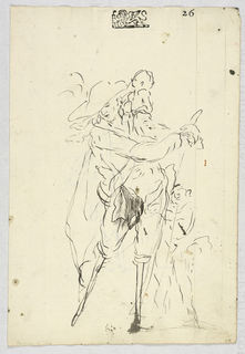 Vertical rectangle. Recto: Sketch of a standing man with two peg-legs, with a child on his shoulders and another beside him. Verso: Sketch of a standing man with one peg-leg, leaning on a crutch.