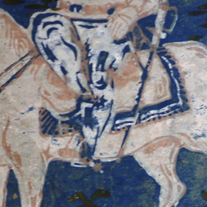 Blue ground; in pink and white, figure of general on horse; tents in background. Legend: Gen'l Taylor Old Rough and Ready, around top.