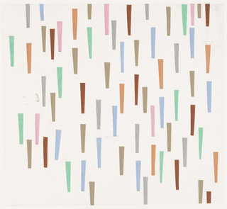 Multicolored papers cut into tapered triangles glued to white paper in random pattern, vertically descending to sugest rain.