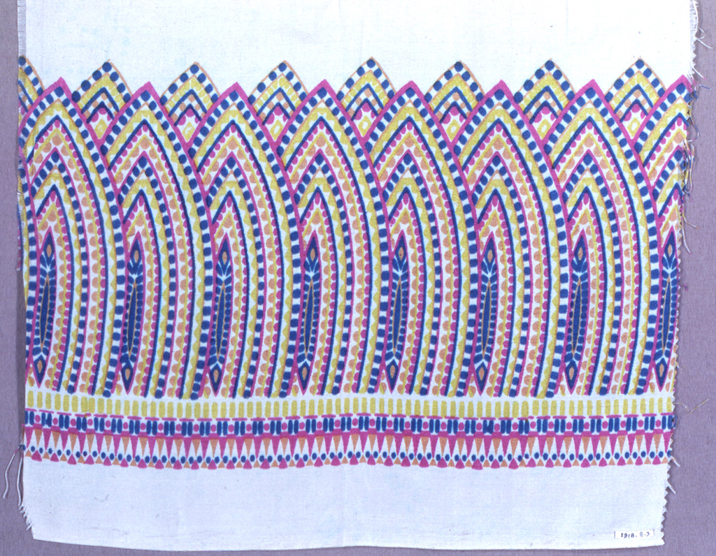 Design of overlapping pointed ovals composed of dots of color and printed in bright pink, yellow, blue and orange.
