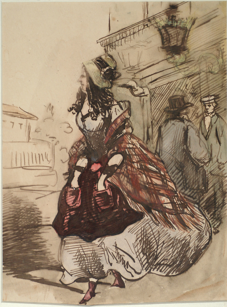 Vertical rectangle. A cocotte in a gray dress with a light green straw bonnet.  Female figure wears burgundy apron and shoes, and a rust-colored and black plaid shawl.  Both hands are thrust in her apron pockets.  Background, two men standing before the door of a cafe or hotel.