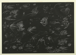 On black ground, an underwater scene filled with fantastical sea creatures including fish, jellyfish, mollusks, corals, and crustaceans. Each creature illuminated in graphite, creating the sense of a very deep, dark, ocean floor.