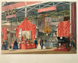 View of the North German exhibit of the 1851 London Exposition showing carriage, chandelier and bird cages. Ironwork structure visible across top of image.