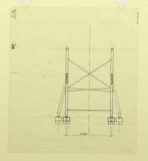 Elevation view of chair showing distance between wheels.
