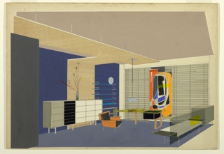 Drawing, Design for an Interior