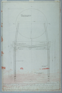 Production drawing showing back elevation with measurements and notes to the manufacturer.