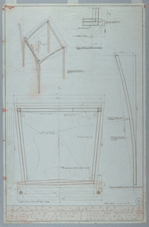 Production drawing showing axonometric view at upper left and plan detail of back support.