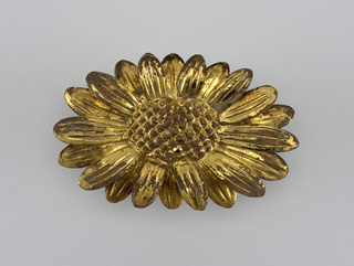 Chrysanthemum branches carved in almost full round and lacquered in gold. B: Flower, two buds and leaves, the flower carved of a separate piece of wood.