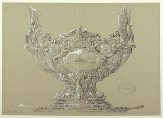 Design for footed metal punchbowl with sculptural composition made up of eagles, cornucopia, medallions, and a central cartouche.