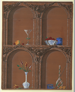 Still lifes with peach, bowl of cherries, vase of flowers, etc. in niches on brown ground.