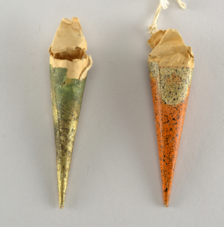red and green paper cones