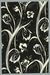 Drawing, Textile design:Tulips in black, white and blue