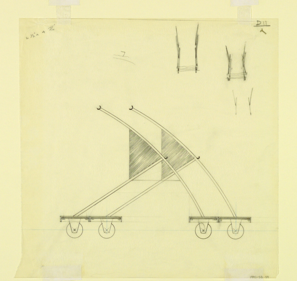 Elevation view of dolly design.