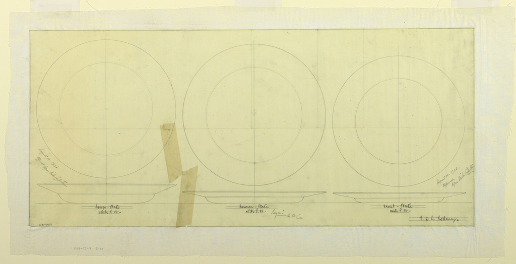 Drawing, Design for Soup Plate, Dinner Plate, Fruit Plate