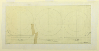 Designs for soup plate ( for 1958-98-13); for dinner plate (1958-98-12b) and for fruit plate (for 1958-98-12a).