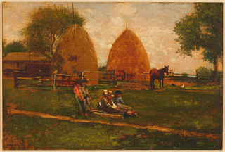 Horizontal view of two boys holding chains of a drag on which three boys are seated at center foreground.  In background, barn, trees, fencing, two haystacks, two horses and chickens.