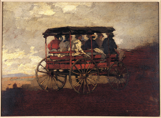 Horizontal view of a three-bench wagon carrying seven passengers along a ridge in foreground, overlooking distant mountains and sky with clouds in the background. Verso: mountain landscape with house in middle distance.