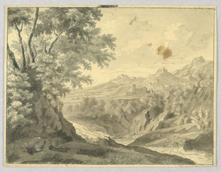 Mountainous country with a town in the right distance. A forked waterfall is shown before it, the stream winding toward the right foreground. A group of trees and rock in the left foreground.