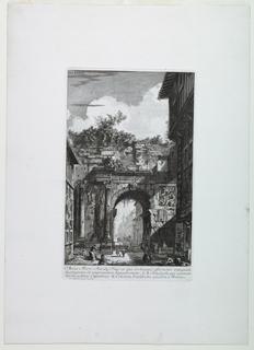 "Vertical rectangle. The arch is seen, partially in ruins, spanning a city street (the Corso, Rome). Below, the inscription: ""ARCUS MARCI AURELIT IMP. EX EJUS ARCHETYPIS, EFFORMATIS ANTE QUAM / DESTRUERETUR OB AMPLIANDUM HIPPODROMUM . A, B. ANAGLYPHI QUI ASSERVAN -/ TUR IN AEDIBUS CAPITOLINIS. C. COLUMNA COCHLIODES EJUSDEM MARCI"". Published in ""Il Campo Marsio dell'antica Roma"", pl. 36 (See 1956-15-1). Calcographia Nazionale reprint."