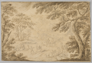 Scene framed by trees. At center, two men on horseback approach a man with a camel in reigns. At left, a cart. At right, a camel stands over goats and cows.